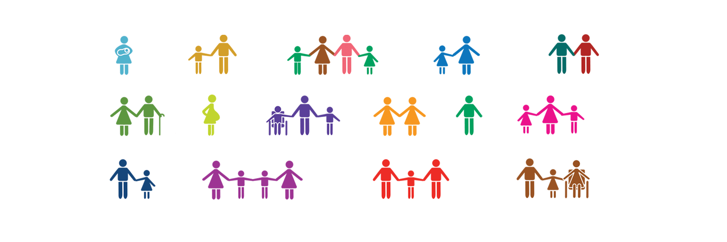 """Colourful icons depicting different variations of """"family."""""""